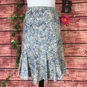 Chaps Skirt Large Blue Gray Floral Tropical Knee